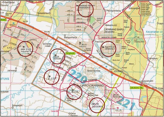 Peta kawasan industri Cikarang