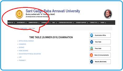 SGBAU Amravati Time Table Summer 2019
