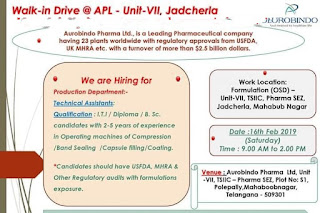 Walk in interview@ Aurobindo Pharma for multiple positions on 16 February