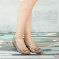 Pantofi dama Ornella khaki cu platforma ortopedica • modlet