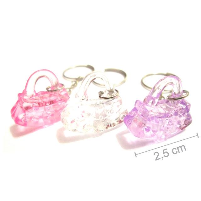 bolsinha de acrilico colorido cristal lembrancinha de aniversario de menina com chaveiro dia da mulher