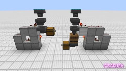 Minecraft 省スペース型壊れない自動仕分け機と通常の自動仕分け機の比較