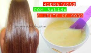 Hidratação com banana e leite de coco