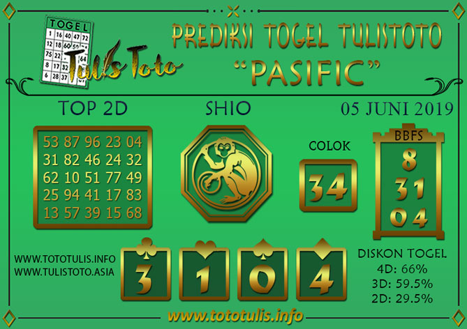 Prediksi Togel PASIFIC TULISTOTO 05 JUNI 2019