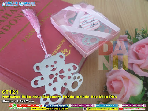 Pembatas Buku Atau Bookmark Panda Include Box Mika Pita