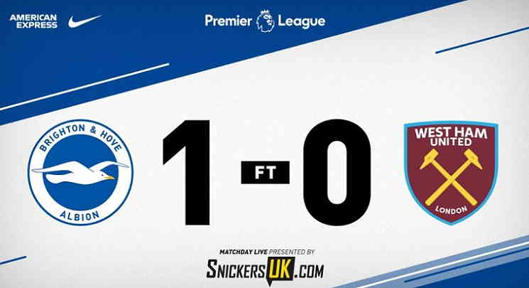 Hasil Brighton vs West Ham Skor Akhir 1-0