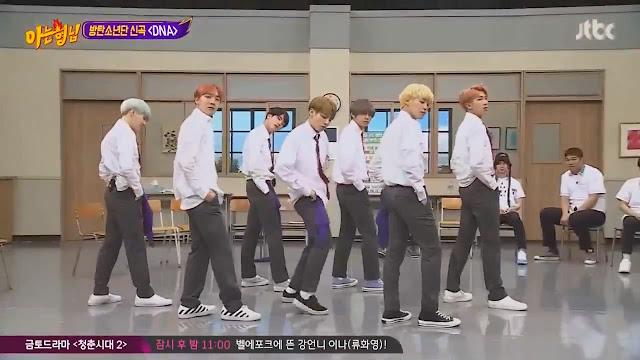 BTS menampilkan dance DNA di sesi akhir Knowing Brothers episode 94