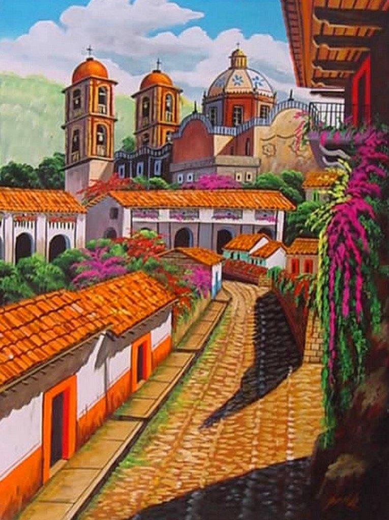 Im genes arte pinturas oleos paisajes coloridos - Cuadros estilo colonial ...