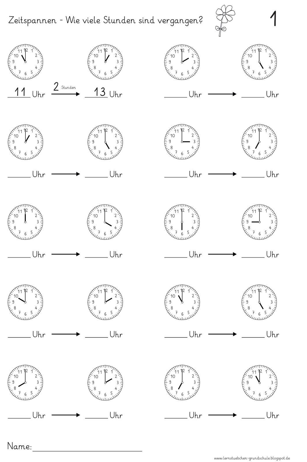Arbeitsblätter Uhr Ganze Stunden : Lernstübchen zeitspannen volle stunden