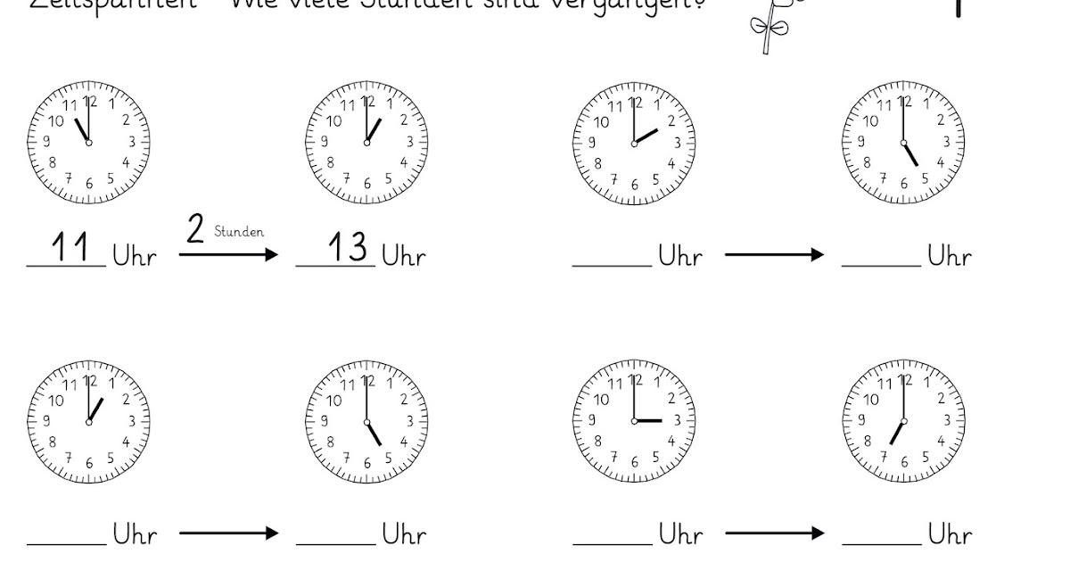 Arbeitsblätter Uhrzeit Volle Stunden : Lernstübchen zeitspannen volle stunden