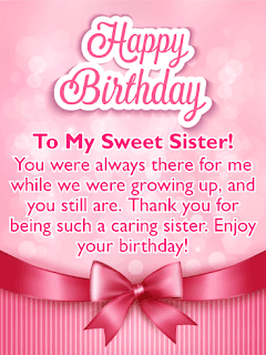 happy birthday card for sister happy birthday to my sister message,funny birthday wishes for younger sister