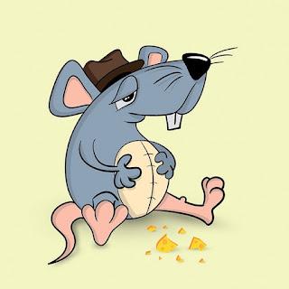 Ratón y galletas de chocolate.