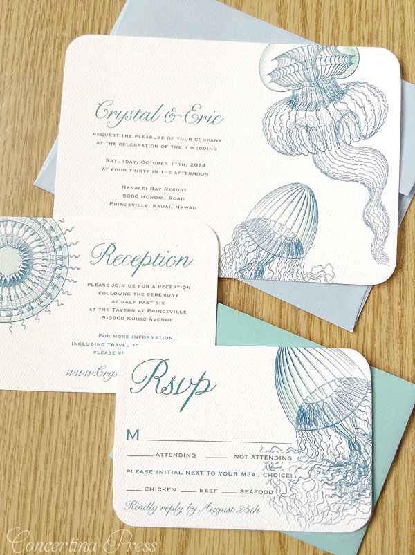 Jellyfish wedding invitations perfect for a destination beach wedding