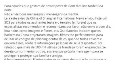 Hackers criaram vírus em gifs e vídeos de Bom-dia no Whatsapp? Boato