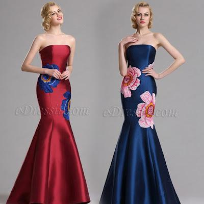 Embroidery Mermaid Prom Dresses Evening Gown