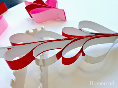 row of paper hearts