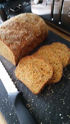 Whole Grain Carrot Chia & Honey Bread. Ready to serve!