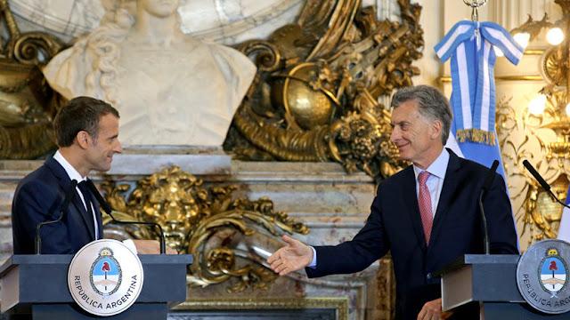 """Macri pide a Macron dar un """"empuje final"""" para un acuerdo comercial entre el Mercosur y la UE"""