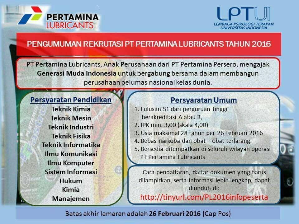 Vuln Pertamina Official Site: Rekruitment PT Pertamina Lubricant Tahun 2016