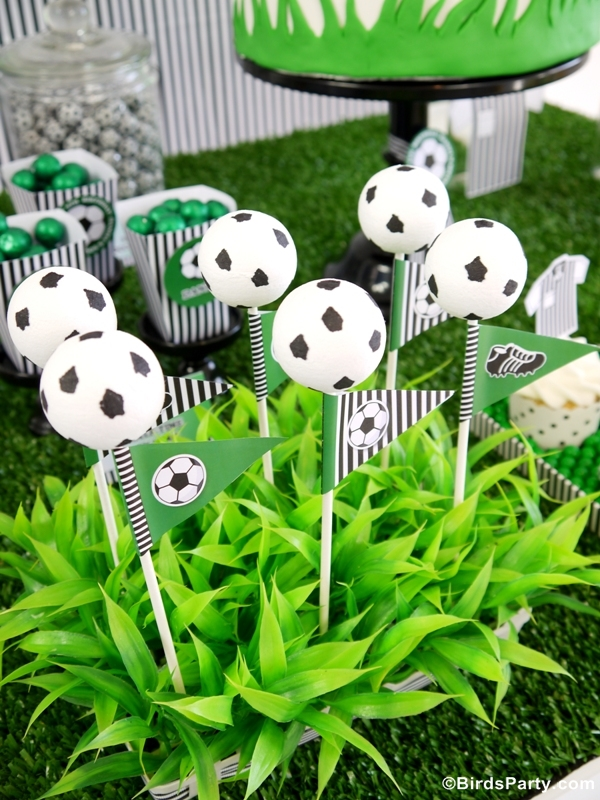 Soccer Football DIY Birthday Party Cake Pops - BirdsParty.com