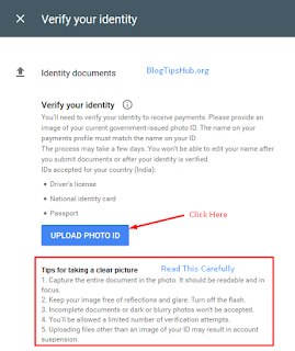 Verify Your Identity In Adsense Account by uploading government issued documents