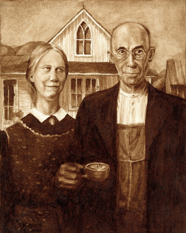 09-Grant-Wood-American-Gothic-Karen-Eland-Coffee-and-Water-Recreate-Famous-Paintings-with-a-Difference-www-designstack-co