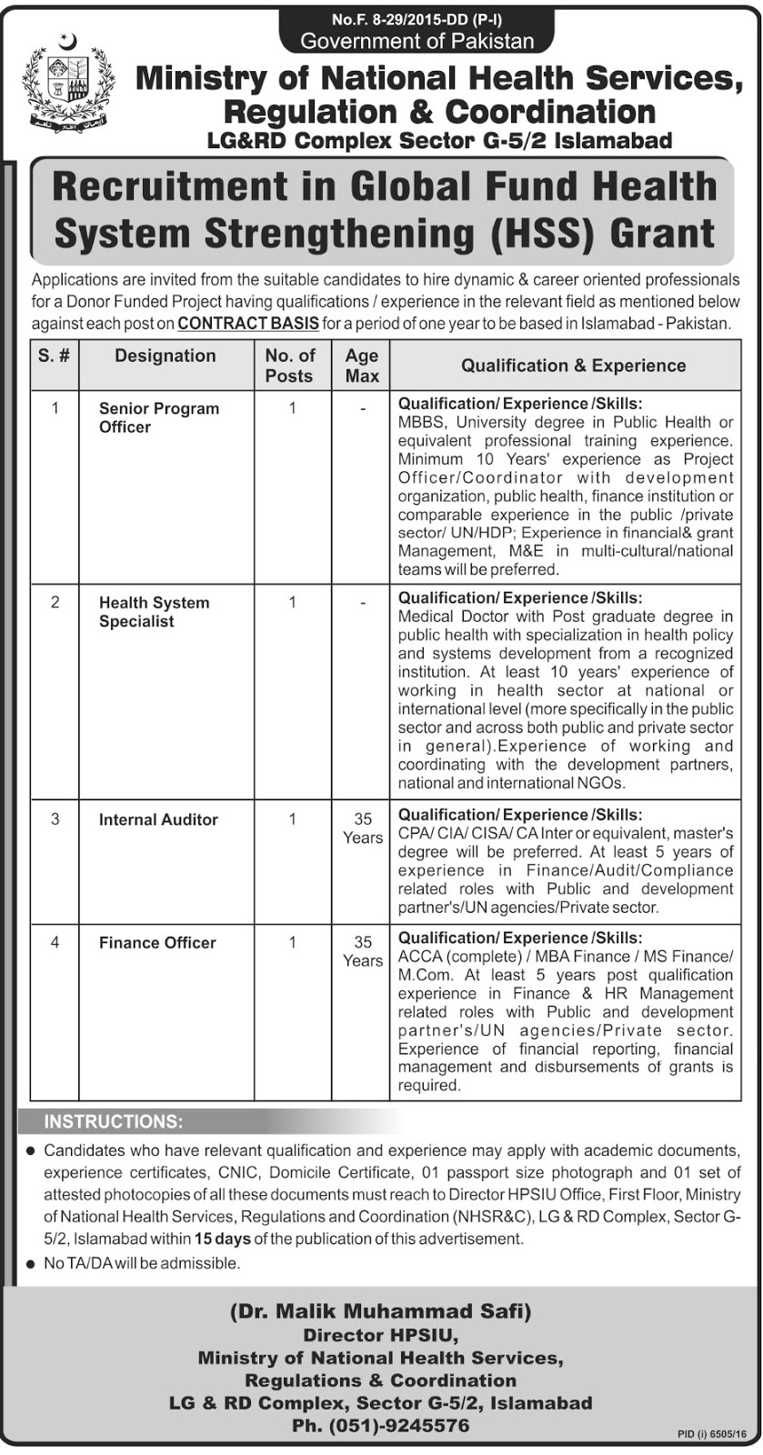 Officers Jobs In Ministry Of National Health Services Regulations And Coordination Islamabad 1 June 2017