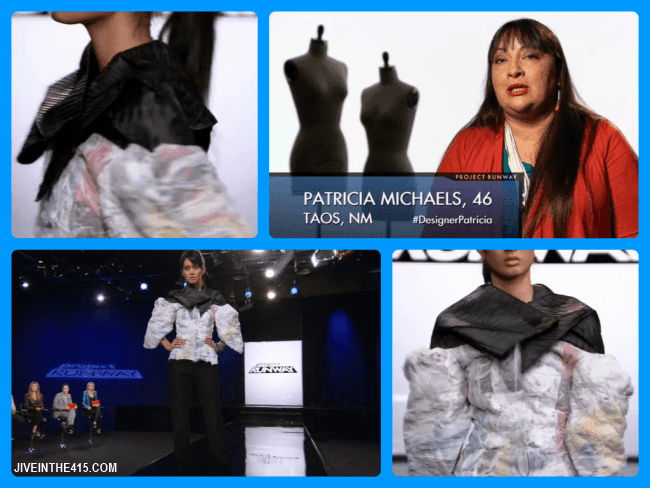 Project Runway Team's Edition Season Eleven contestant Patricia Michaels and her episode 12 runway look.