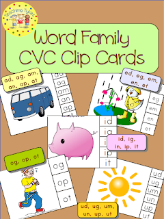 http://www.teacherspayteachers.com/Product/Word-Family-CVC-Clip-Cards-Bundle-Common-Core-Aligned-928518
