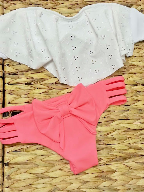 White Eyelet Ruffle Bra And Pink Bikini
