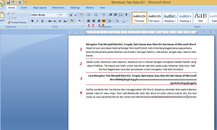 Mengatur Teks Menjadi Rata Kiri, Tengah, Rata Kanan atau Rata Kiri dan Kanan di Microsoft Word