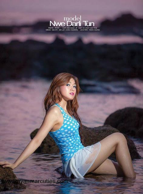 attractive model girl Nwe Darli Tun at beach