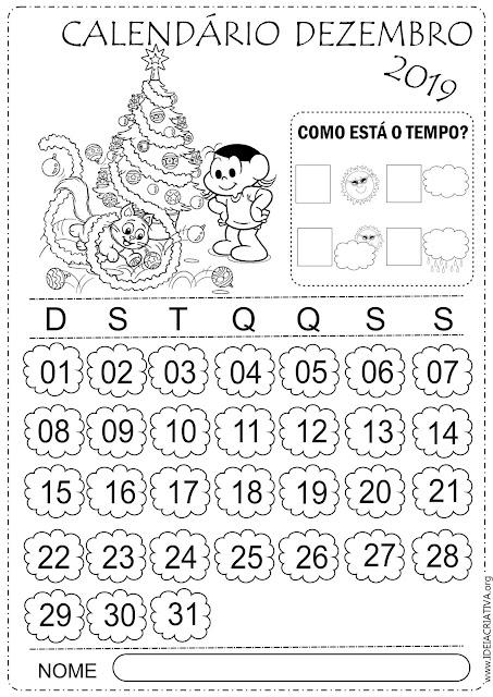 Calendários Dezembro Turma da Mônica 2019 para imprimir e colorir