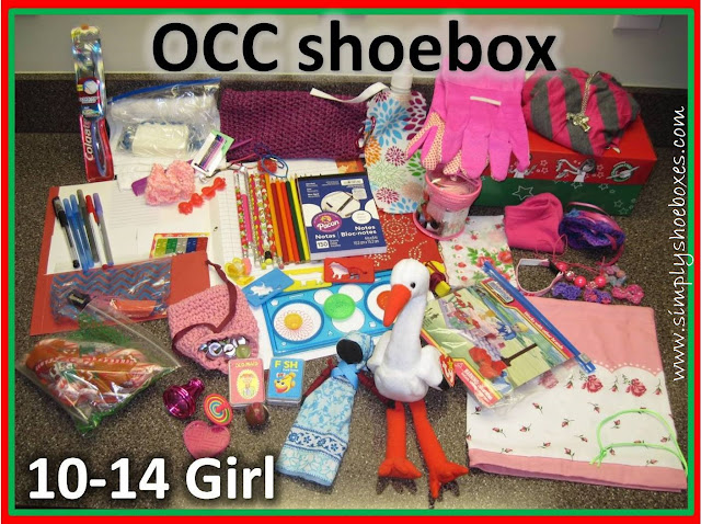 Operation Christmas Child shoebox for a 10 to 14 year old girl.