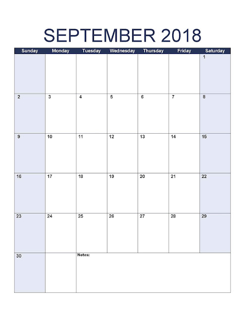 September 2018 editable calendar template