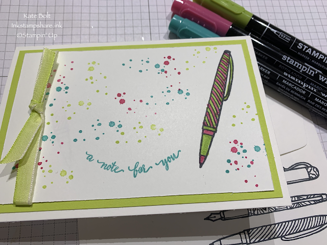 Hand made note card with pen image from Crafting Forever stamp set and a note for you.Stampin' Up!