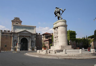 Porta Pia and the monument to the Bersaglieri in Rome
