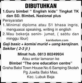 Lowongan Kerja Bimbel The One Education Centre