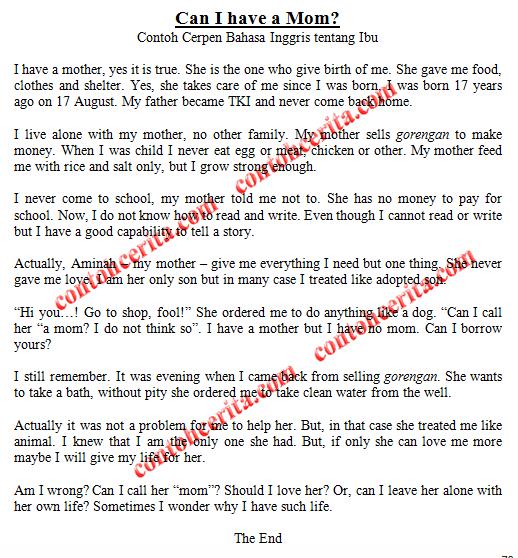 Contoh Cerpen Bahasa Inggris tentang Tema Ibu