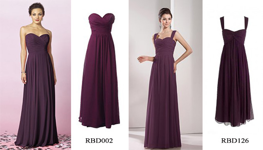 plum long bridesmaid dresses for fall wedding in RedBD