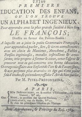 « Première éducation des enfants », manuel de Pitel-Préfontaine, 1789 (collection privée)