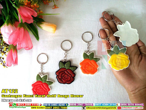 Gantungan Kunci Karet Motif Bunga Mawar