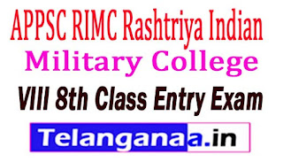 APPSC RIMC Rashtriya Indian Military College VIII 8th Class Entry Exam 2017