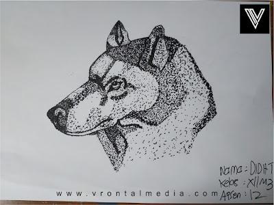 contoh gambar pointilis srigala