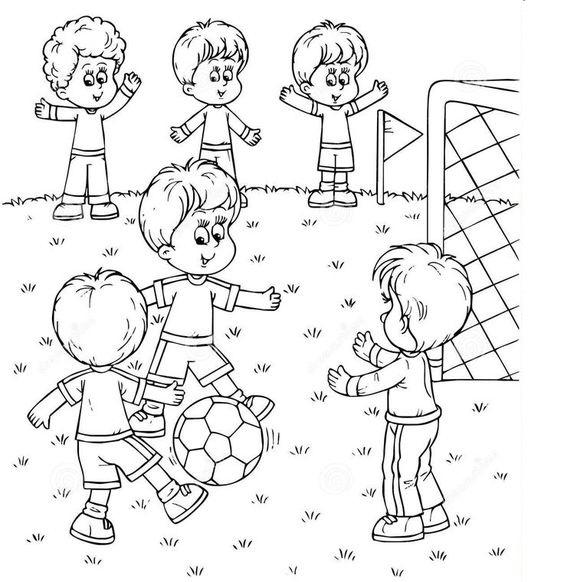Tranh tô màu thiếu nhi chơi đá bóng