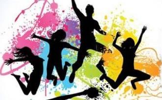 Dibujo de silueta de jóvenes por el Día de la Juventud