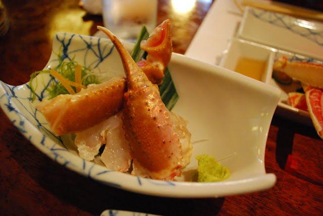 Sashimi. Crab Kani Doraku Douraku restaurant Tokyo. Tokyo Consult. TokyoConsult