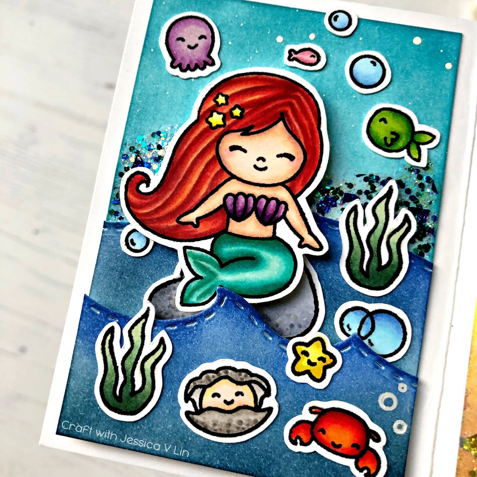 Little-Mermaid-Copic-Twist-Pop-Card_WM.jpg-VersaFine Clair Memory Keeping