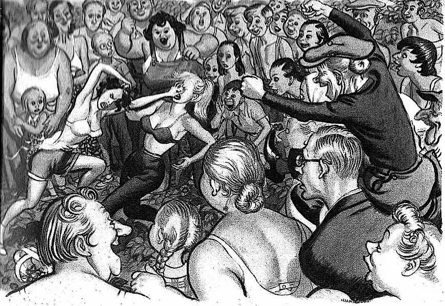 Leslie Illingworth cartoon 1958, women streetfighting