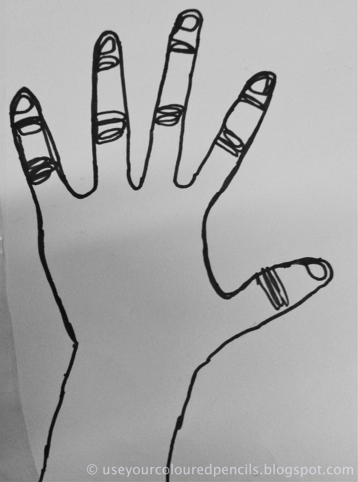 Use Your Coloured Pencils  Contour Hands In Wire